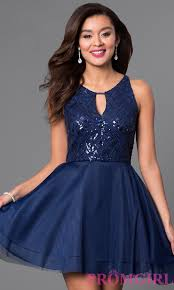 navy blue short a line homecoming dresses promgirl