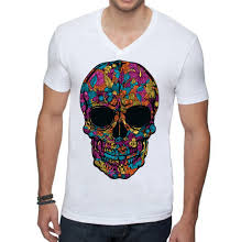 black flower skull men v neck t shirt u2013 awkwardstyles