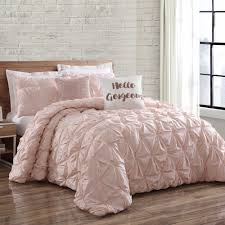 Lush Decor Belle 4 Piece Comforter Set by Brooklyn Loom Jackson Pleat King Comforter Set In Blush Wendy