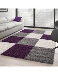 teppich hochflor langflor günstig wohnzimmer shaggy kariert lila weiss grau