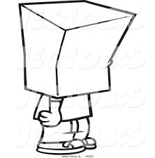 Vector Of A Cartoon Boy Standing With Bag Over His Head