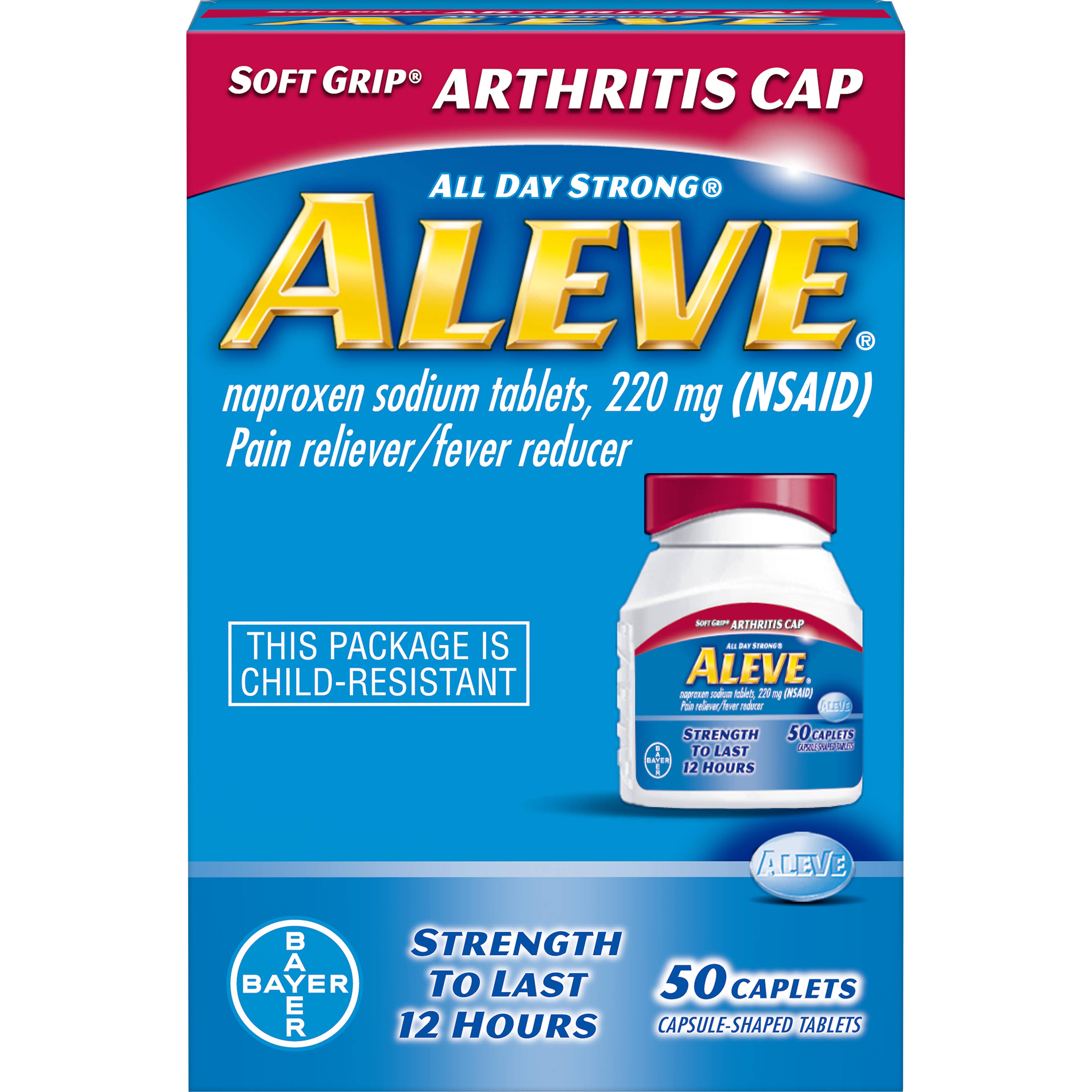 Bayer Aleve All Day Strong Pain Reliever & Fever Reducer - 50 Caplets