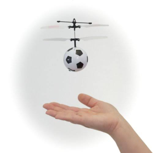 MukikiM Mini Flyer Toy - Infrared Flying Saucer with Remote Control Soccer Ball