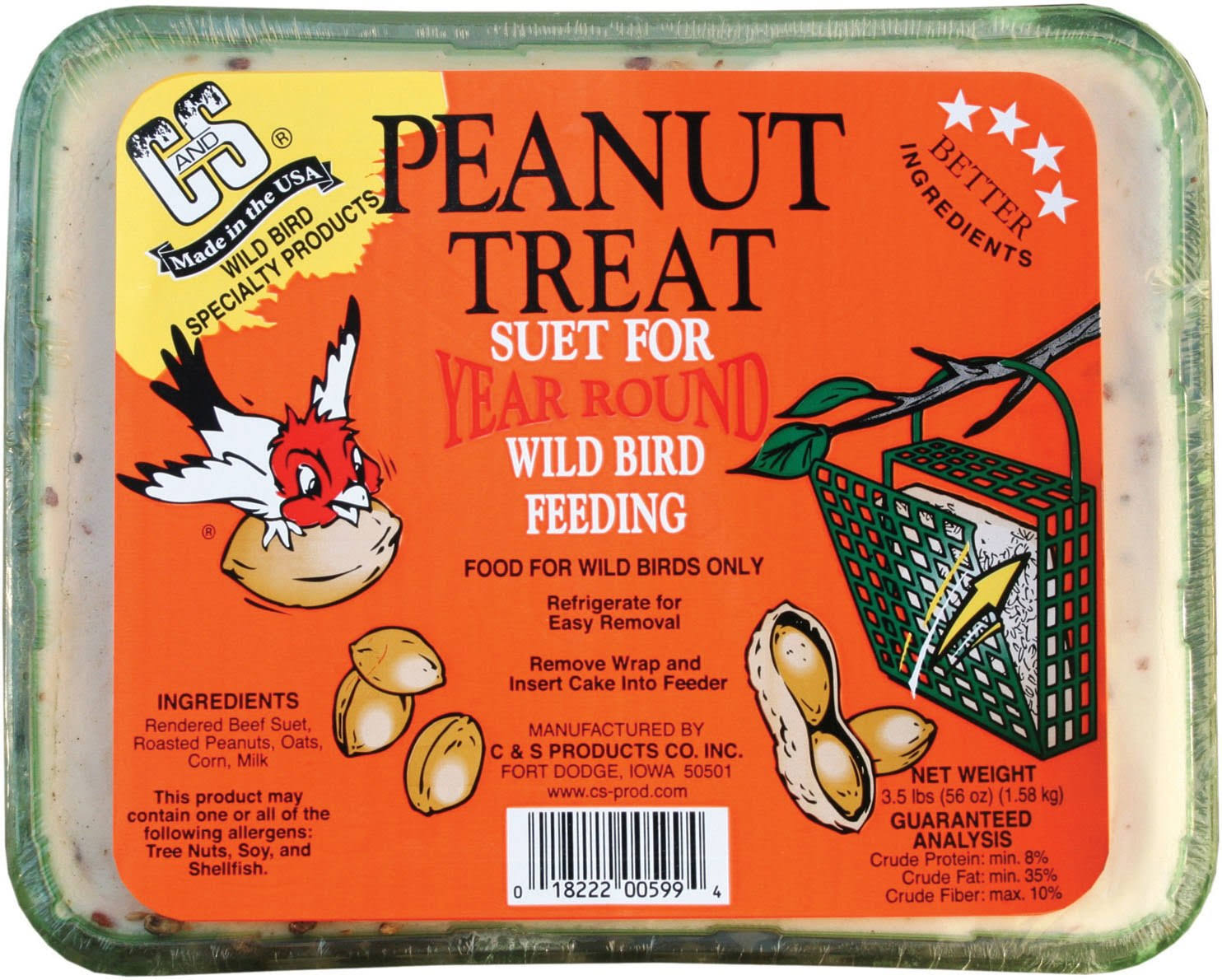 C and S Products Peanut Treat Bird Suet - 3.5lbs