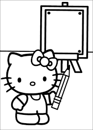 Hello Kitty Coloring Pages Of Holding Pencil