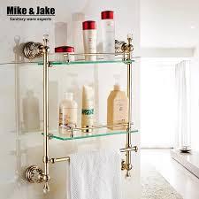 badezimmer wand montiert goldene kristall bad regal kristall bad regale wand doppel glas regal racks