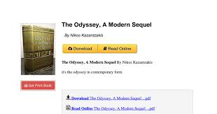 the odyssey in modern the odyssey a modern sequel by nikos kazantzakis 0671530801 pdf