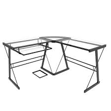l shaped computer desk in black and clear glass