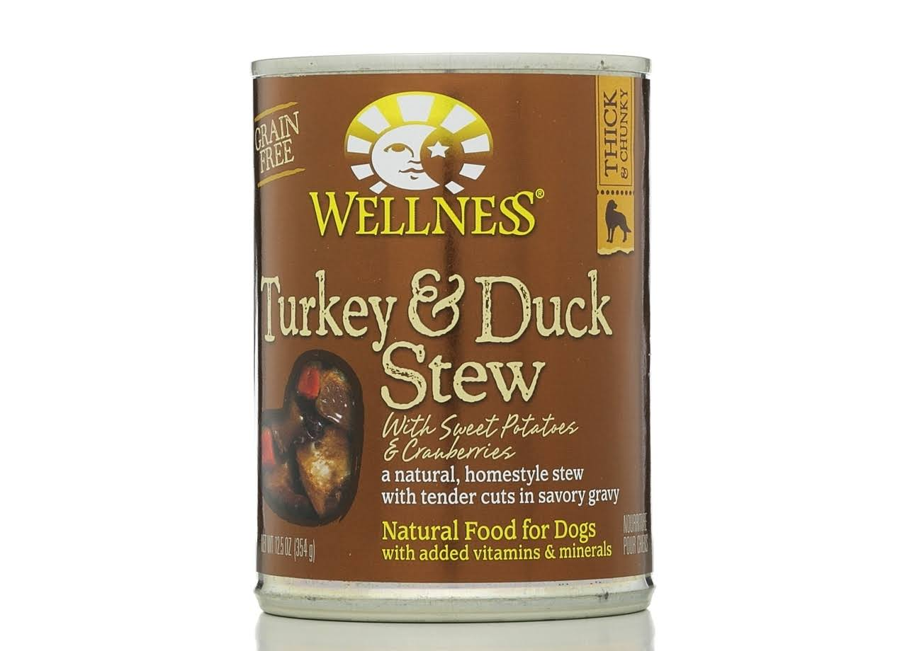 Wellness Thick & Chunky Adult Dog Wet Food - Turkey & Duck Stew, 354g