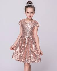 Real Picture Rose Gold Sequins Flower Girls Dress For Wedding Cheap 2017 Cap Sleeve Custom First