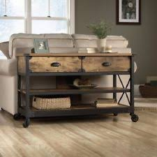 Country Sofa Table Industrial Rustic TV Console With 2 Drawers Distressed Style