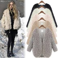wholesale women fluffy fuzzy shaggy faux fur cape coats brand