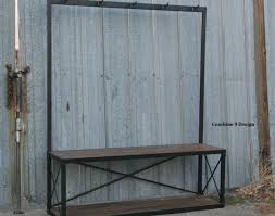 Bench Coat Rack Seat Beautiful Industrial Entryway Storage Set Furniture Wood Black Satiating Style