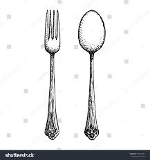 Fork knife and spoon cutlery vector sketch hand drawing isolated