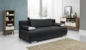 flam stoff sofa bett dunkelgrau mit speicher