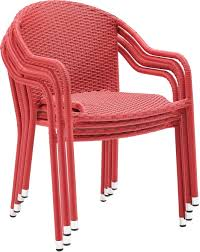 Crosley Furniture Palm Harbor Outdoor Wicker Stackable Chairs - Red (Set Of  4) Gdf Studio Dorside Outdoor Wicker Armless Stack Chairs With Alinum Frame Dover Armed Stacking With Set Of 4 Palm Harbor Stackable White All Weather Patio Chair Bay Island Noble House Multibrown Ding 2pack Plowhearth Bistro Two 30 Arm Brown 51 Bfm Seating Ms11cbbbl Gray Rattan Inoutdoor Restaurant Of Red By Crosley Fniture
