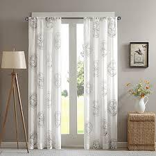 Gray Sheer Curtains Bed Bath And Beyond by Cedar Ridge Compass Sheer Window Curtain Panel Bed Bath U0026 Beyond