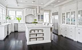 Gorgeous White Cabinet Kitchen With Marble Counters And Dark Chocolate Oak Floors