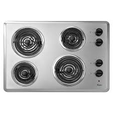 Shop Whirlpool Coil Electric Cooktop Stainless Steel mon 30