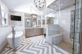 brick pattern tile bathroom transitional with white wainscoting
