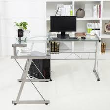 Computer Desk L Shaped Glass furniture inspiring l shaped glass clear top computer desk with