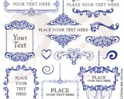 Blue Chandelier Digital Frames Clip Art