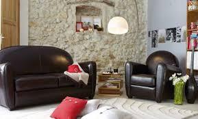 canap et fauteuil assorti deco salon canape cuir noir alinea