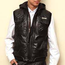 popular men sleeveless leather vest hood buy cheap men sleeveless