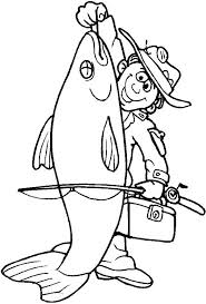 Fisherman Catch Big Fish Coloring Page
