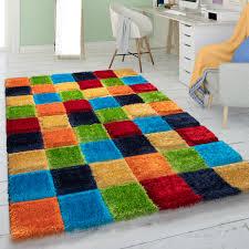 hochflor teppich wohnzimmer shaggy 3d würfel muster