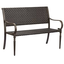 Home Depot Patio Furniture Wicker by Hampton Bay Commack Brown Wicker Outdoor Bench 760 008 000 The