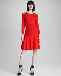 mcq safety pin knit dress in red lyst