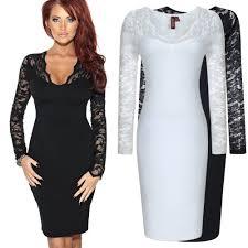 aliexpress com buy women white black lace dress long sleeve