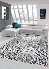 merinos teppich mit fliesen muster wohnzimmer teppich modern in blau grau größe 120x170 cm