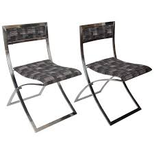 Six Stainless Steel 1960s Folding Dining Chairs