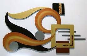 Unique Warm Autumn Abstract Wood Mirror Metal Wall Art Sculpture
