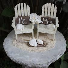 Unique Coastal Cake Topper Set Beach Wedding Adirondak Chairs Mr Mrs