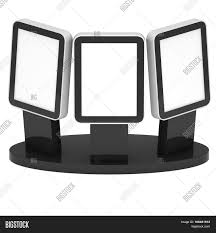 LCD Screen Stand Black Trade Show Booth 3d Render Of Lcd Tv Isolated On