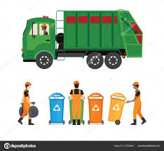 City Waste Recycling Concept With Garbage Truck And Garbage Coll ...