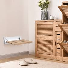 Costway Costway Wall Mounted Teak Wooden Folding Shower Bath Seat