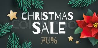 Christmas Sale Promotion Banner With Special Offer 70 Percent Off Abstract Black Vector Background Green Fir Tree Branches And Red Poinsettia Flower