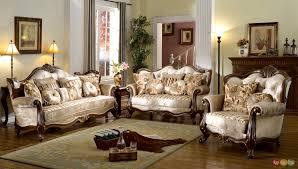 French Provincial Formal Antique Style Living Room Furniture Set Beige Chenille shopfactorydirect