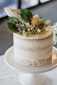 Semi Naked Single Tier Rustic Wedding Cake With Australian Native Flowers