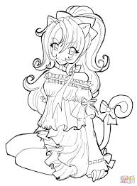 Anime Coloring Pages Girls Free Of Animals
