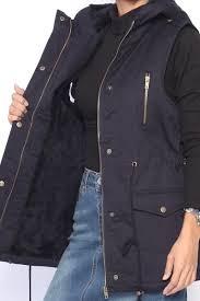 themogan women u0027s faux fur lined sleeveless parka hooded utility