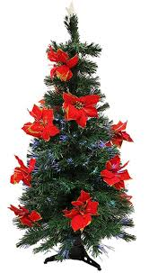 4FT Christmas Tree With Red Poinsettias Pre Lit Fiber Optic