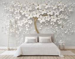 blumentapete schöne hochzeit zimmer weiße blumen 3d geprägte