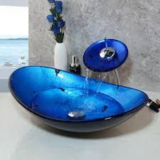 ovale badezimmer aus gehärtetem glas waschbecken