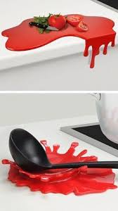 Splash And Puddle A Chopping Board That Drips Off The Edge Red Kitchen DecorKitchen