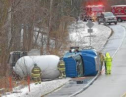 Propane Truck Flips Over On Slick Road | News | Pottsmerc.com Overturned Propane Delivery Truck Towed From Accident Scene See Propane Truck Closes Road For Hours First State Update Overturns Into Ditch Off Manor Township Road Local In Rollover East Of Ellsworth River Falls Journal Car Burns Next To Tank After Crashing Freeway One Injured Tanker On Hwy 61 Monday I40 Oklahoma Blocked Leads Fire Crash Blocks County Fire Finally Out Fmcsa Rescinds Exemption Allowing Truckers Drive Longer Viral Video Explodes Highway Insane Fireball Driver News Wincheerstarcom